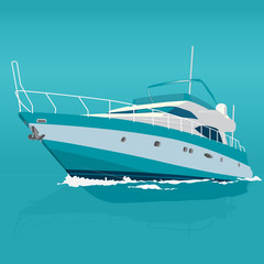 Nice blue motor boat on sea – fishing on a ship – background for poster – illustration for webpage - flatten isolated illustration master vector