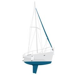Nice blue and white yacht on white, nice boat -illustration of ship - flatten isolated illustration master vector