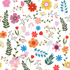 Floral seamless pattern with colorful flowers on white background.