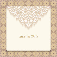 Save the date card with lace decoration, vintage wedding invitation or announcement template.