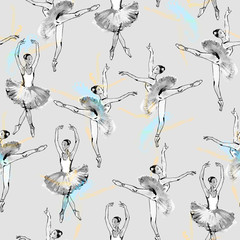 Seamless pattern of ballet dancers, black and silver drawing, watercolor painting, monochrome with color accents isolated on grey background.