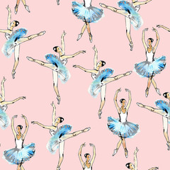 Seamless pattern of ballet dancers, black and silver drawing, watercolor painting, isolated on pink background.