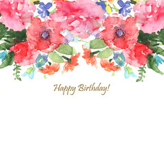 Greeting card, invitation, banner. Frame for your text with floral watercolor background.