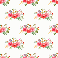 Seamless floral pattern with isolated flowers and leafs drawn watercolor