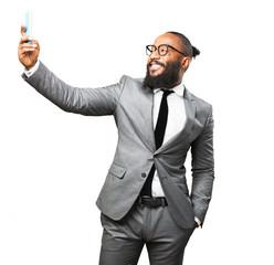 business black man taking a selfie