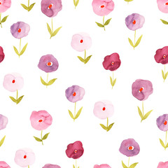 Seamless pattern with isolated watercolor flowers on white background.