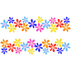 Floral texture with blue, red, yellow isolated flowers drawn watercolor and place for your text