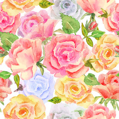 Floral seamless pattern with red, yellow and blue roses