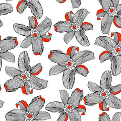 Floral seamless pattern with white red flowers and black outline