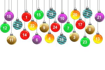 Bunte Weihnachtskugeln mit Zahlen
