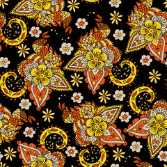 Floral Seamless Texture with gold red flowers