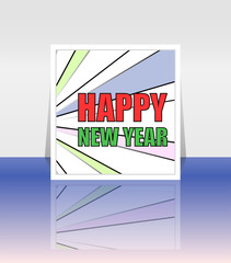 Happy New Year Holiday Vector Card, Merry Christmas