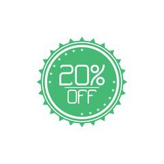 Elegant 20% Off Discount Tag Label Vector Template