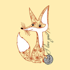 Illustration of a fox. An animal with a ball of yarn. I love you.