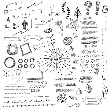 Hand drawn sketch doodles, including plant life, punctuation marks, arrows, hearts, sunbursts, circles, decorative border edges, empty banners, swirls, pyramids, and whimsical lines and scribbles