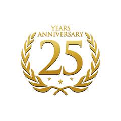 Simple Wreath Anniversary Gold Logo 25