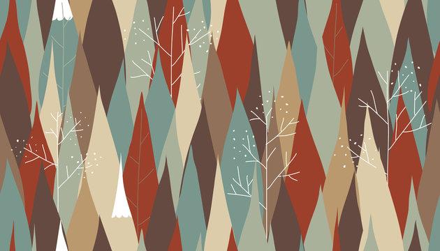 Pine tree in autumn season seamless pattern