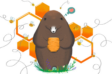 Illustration for Children: Eat by Hurt Bees or Not Eat. The Bear Get the Sweet Honey Hive and Hesitate. Realistic Fantastic Cartoon Style Artwork / Story / Scene / Wallpaper / Background / Card Design