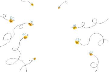 Illustration for Children: Bees Path. Realistic Fantastic Cartoon Style Artwork / Story / Scene / Wallpaper / Background / Card Design.
