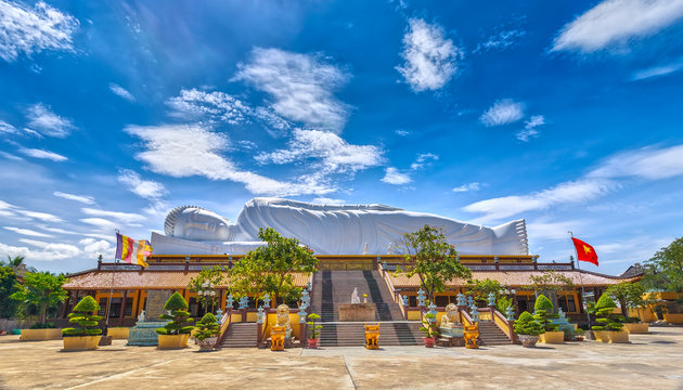The beauty architectural nirvana Buddha Asia's longest length of 52m with 12m located on the roof is a place revered Buddhist and state-level certification national monument at Binh Duong, Vietnam