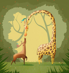 Love Illustration: The Deer and The Giraffe. Realistic Fantastic Cartoon Style Artwork / Story / Scene / Wallpaper / Background / Card Design