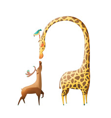 Illustration: The Amazing Deer and The Giraffe isolated on White Background. Realistic Fantastic Cartoon Style Artwork / Story / Scene / Wallpaper / Background / Card Design
