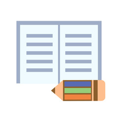 Vector illustration. Icons of colorful pencil and notepad, isolated over white background
