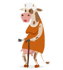 Cow old woman vector portrait illustration on white background