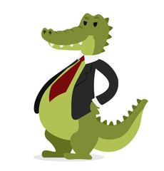 Crocodile business man vector portrait illustration on white background