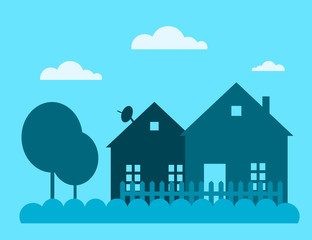 Family house building vector illustration