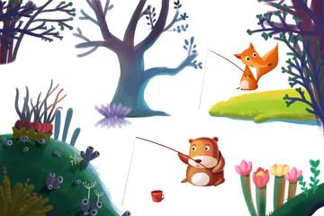 Clip Art Set: Nature Stuff: Forest Plant Tree, Animal Bear Fox, Flower Hill Island etc. Realistic Fantastic Cartoon Style Artwork / Story / Scene / Wallpaper / Background / Card Design