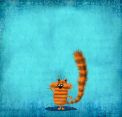 Striped Kitten on Sky Blue Background