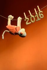 monkey climb the rope to new year