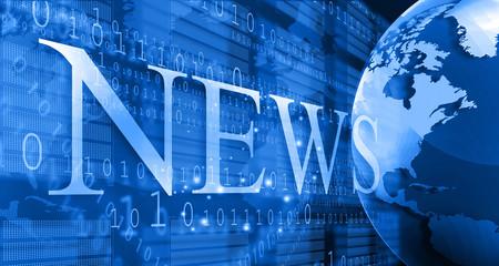 words News on digital blue background.