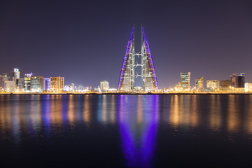 Wall Mural - Skyline of Manama at night, Bahrain