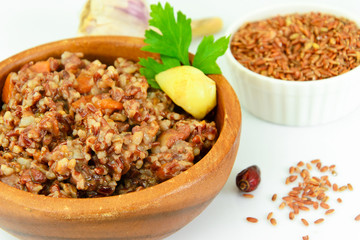 Healthy Food: Pilaf with Meat and Red Rice.