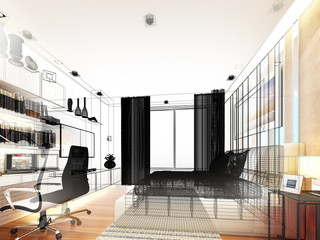 abstract sketch design of interior bedroom
