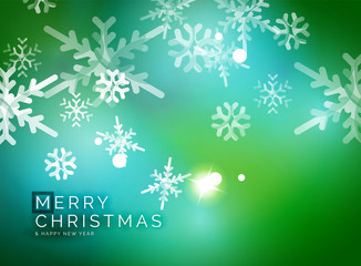 Vector Merry Christmas abstract background, snowflakes in the air