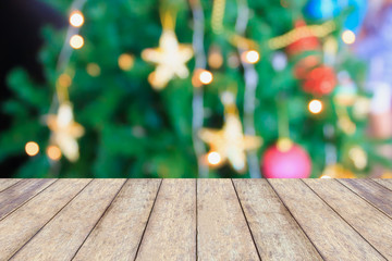 Christmas holiday background with empty rustic wood table