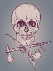 Hand drawn vector  human skull, tomahawk and calumet