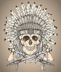 Hand drawn Native American Indian headdress with human skull