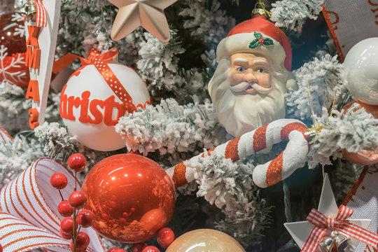 Beautiful Christmas ornaments on a tree.