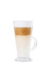 Latte coffee in glass isolated on white