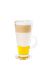 Coffe latte with honey. Isolated on white backgorund