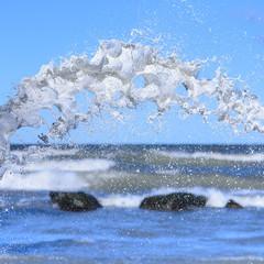 Splash on sea background