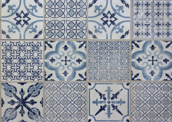 decorative tile pattern patchwork design - blue, white Fototapete