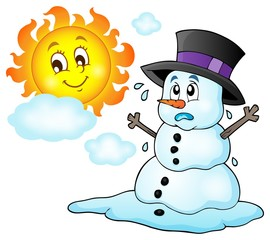 Melting snowman theme image 1