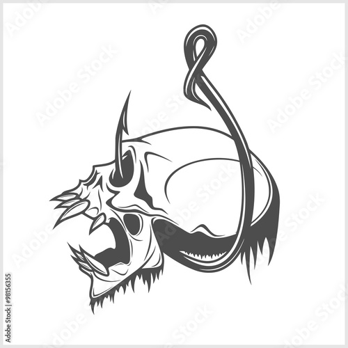 Skull On A Fishing Hook Stock Image And Royalty Free Vector Files