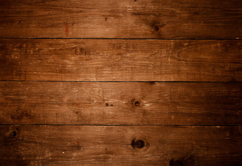 Old wooden table or board for background. Space for text. Toned