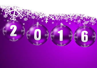 2016 new years illustration with christmas balls and snowflakes